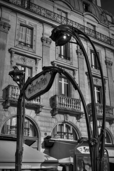 Photograph - Paris Metro Sign 001 Bw by Lance Vaughn