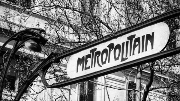Photograph - Paris Metro Sign Bw by Joan Carroll