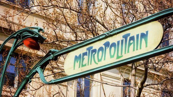 Photograph - Paris Metro Sign Color by Joan Carroll
