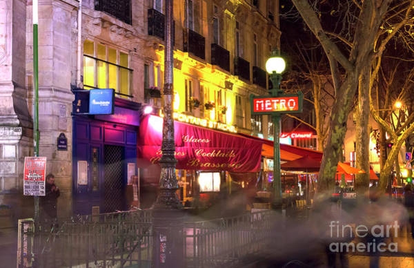 Photograph - Paris Metro Station At Night In The Latin Quarter by John Rizzuto