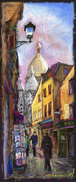 Streetscape Wall Art - Pastel - Paris Montmartre 2 by Yuriy Shevchuk