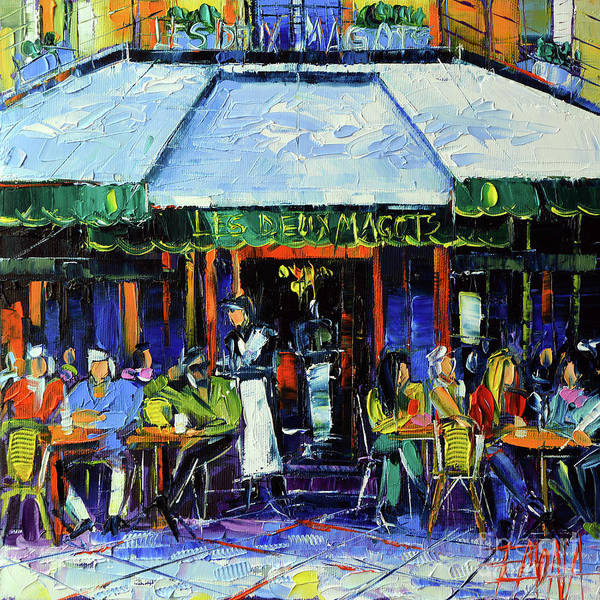 Urban Life Painting - Paris Morning At Les Deux Magots - Modern Impressionism Oil Painting Mona Edulesco by Mona Edulesco