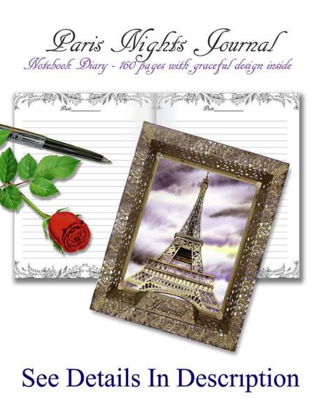 Painting - Paris Nights Journal For Notes Diary Memoirs by Irina Sztukowski