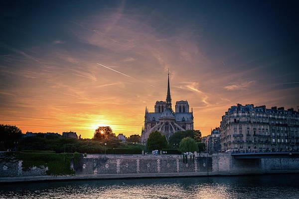 Photograph - Paris, Notre Dame Cathedral  At Sunset by Sergey Taran