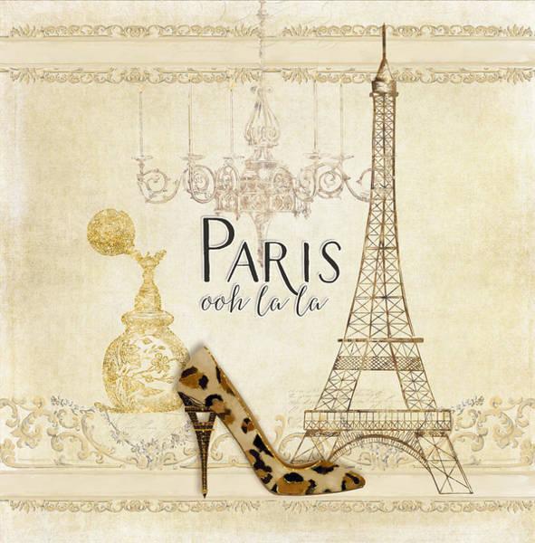 Wall Art - Painting - Paris - Ooh La La Fashion Eiffel Tower Chandelier Perfume Bottle by Audrey Jeanne Roberts