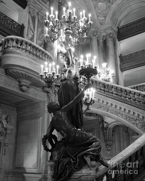 Wall Art - Photograph - Paris Opera Chandeliers - Ladies Holding Candelabras Opera Garnier Black And White Photography by Kathy Fornal