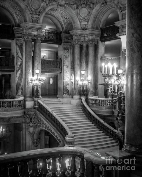 Palais Photograph - Paris Opera Garnier Grand Staircase - Opera House Interior Architecture by Kathy Fornal