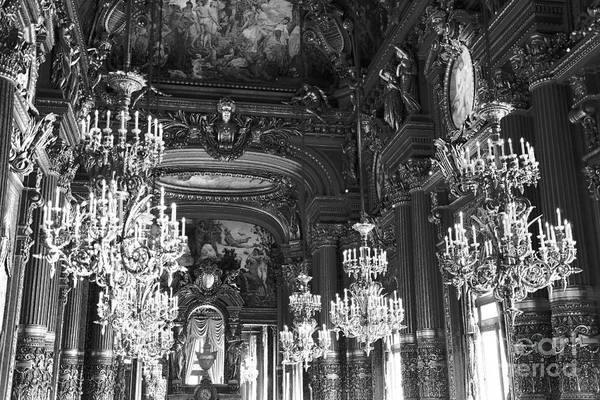 Chandelier Photograph - Paris Opera House Chandelier Room - Hall Of Chandeliers Black White Print Home Decor by Kathy Fornal