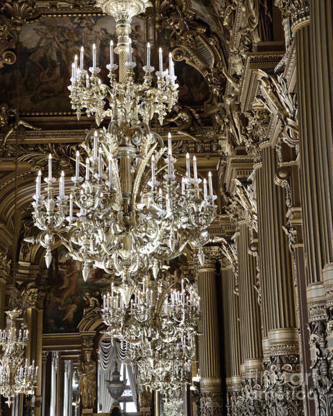 Wall Art - Photograph - Paris Opera House Opulent Chandelier Room - Paris Chandeliers by Kathy Fornal