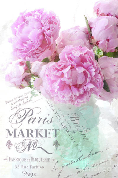 Wall Art - Digital Art - Paris Peonies Impressionistic Romantic Peony Peonies French Script Shabby Chic Decor by Kathy Fornal