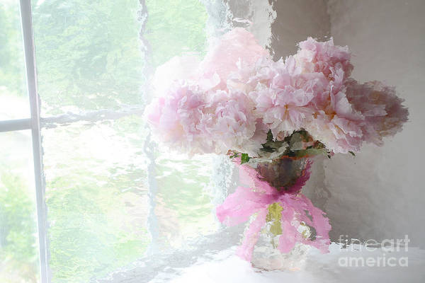 Wall Art - Photograph - Paris Peonies Shabby Chic Dreamy Pink Peonies Romantic Cottage Chic Paris Impressionistic Peonies  by Kathy Fornal