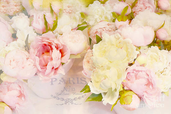 Peonies Photograph - Paris Peonies Pink Yellow Peonies Floral Art - Dreamy Shabby Chic Paris Pink Yellow Peony Flowers by Kathy Fornal