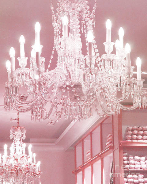 Chandelier Photograph - Paris Pink Crystal Chandelier - Paris Repetto Sparkling Chandelier Decor by Kathy Fornal