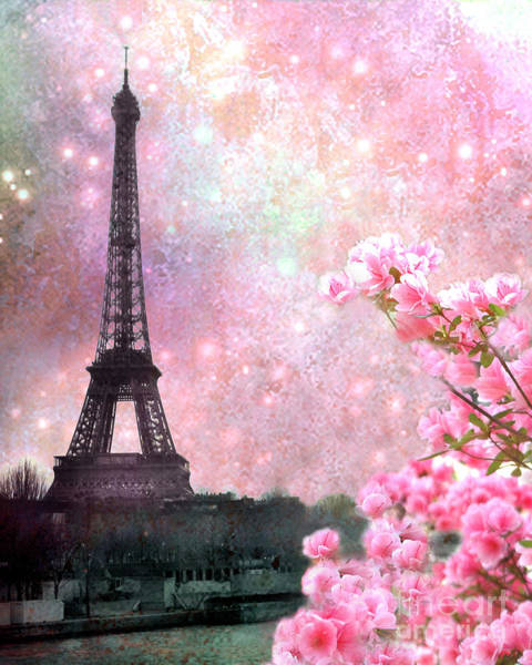 Cherry Blossoms Photograph - Paris Pink Dreamy Eiffel Tower Romantic Cherry Blossoms  - Paris Eiffel Tower Pink Spring Blossoms by Kathy Fornal