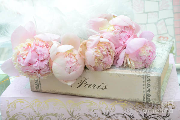 Chic Photograph - Paris Pink Peonies Romantic Shabby Chic French Market Peonies - Paris Romantic Peonies And Book Art by Kathy Fornal