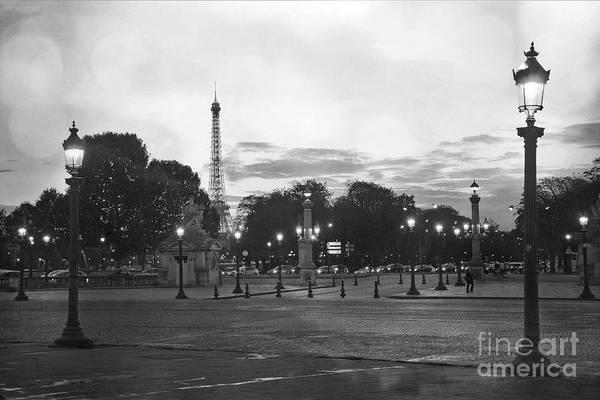 Concorde Photograph - Paris Place De La Concorde Plaza Night Lanterns Street Lamps - Black And White Paris Street Lights by Kathy Fornal