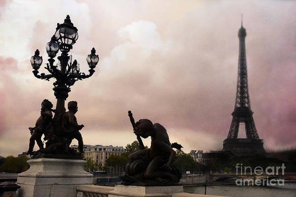 Alexandre Photograph - Paris Pont Alexandre IIi Bridge - Paris In Blush Pont Alexandre Bridge Cherubs Lanterns Eiffel Tower by Kathy Fornal