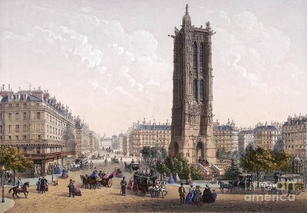 Drawing - Paris, Saint-jacques Tower by Granger