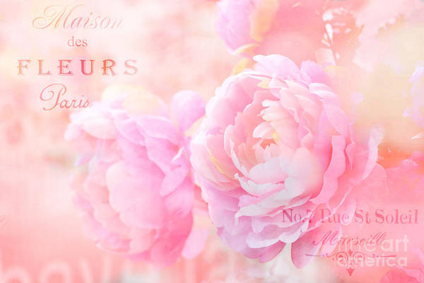 Wall Art - Photograph - Paris Shabby Chic Dreamy Pink Peonies - Romantic Cottage Paris Pink Peonies Cottage Art  by Kathy Fornal