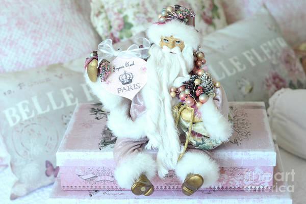 Paris Shabby Chic Pink And White Santa - Joyeux Noel - Shabby Chic Santa Claus Prints Home Decor Art Print