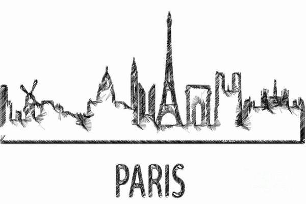 Digital Art - Paris Silouhette Sketch  by Rafael Salazar