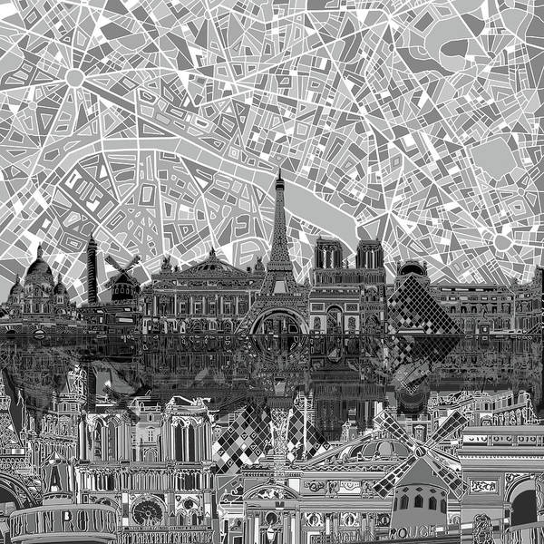 Monochromatic Painting - Paris Skyline Black And White by Bekim Art