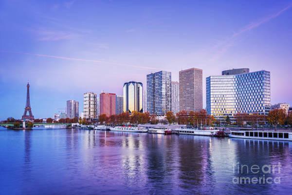Blue Hour Photograph - Paris Skyline by Delphimages Photo Creations