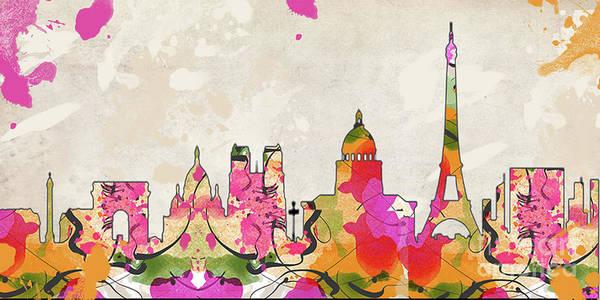 Wall Art - Digital Art - Paris Skyline by MGL Meiklejohn Graphics Licensing