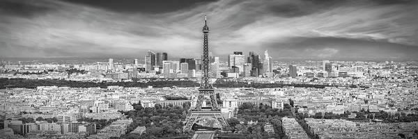 Wall Art - Photograph - Paris Skyline - Monochrome Panorama by Melanie Viola