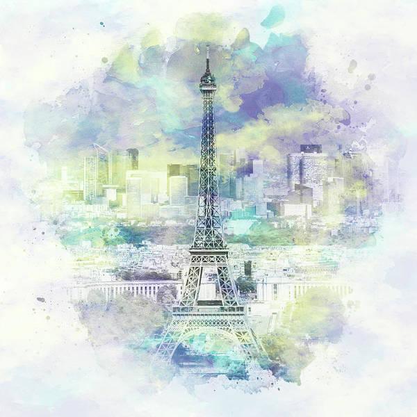 Wall Art - Photograph - Paris Skyline - Watercolor by Melanie Viola