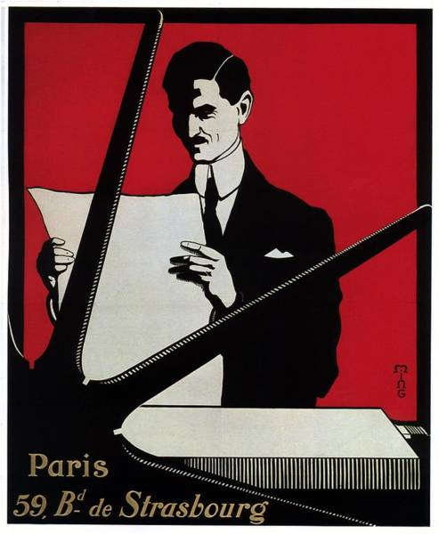 Wall Art - Mixed Media - Paris Strasbourg - Printing Press - Vintage Advertising Poster by Studio Grafiikka