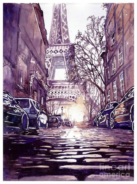 Grey Skies Wall Art - Painting - Paris by Suzann's Art