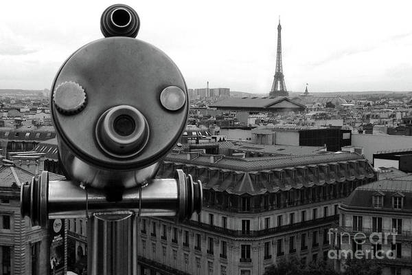 Paris Rooftop Photograph - Paris Telescope Skyline Eiffel Tower And Rooftops - Telescope Paris Black And White Photography  by Kathy Fornal