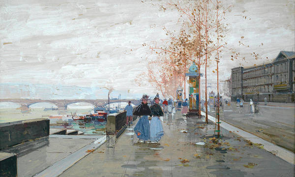 Wall Art - Painting - Paris, The Quays Of The Seine by Eugene Galien-Laloue