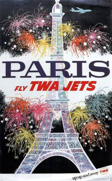 Wall Art - Mixed Media - Paris - Twa Jets - Trans World Airlines - Eiffel Tower - Retro Travel Poster - Vintage Poster by Studio Grafiikka