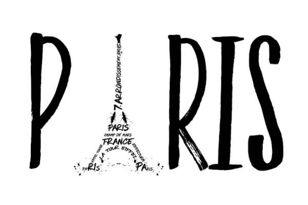 Monochrome Digital Art - Paris Typography by Melanie Viola