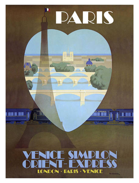 Vintage Train Painting - Paris Venice Railway, Orient Express by Long Shot