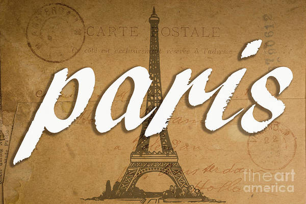 Wall Art - Digital Art - Paris Vintage Sign With Eiffel Tower by Edward Fielding