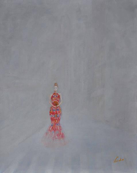 Paris - Woman Holding A Fan In Haze Art Print by CH Narrationism