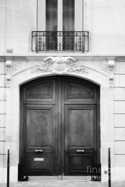 Photograph - Parisian Entryway Black And White by Angela Rath
