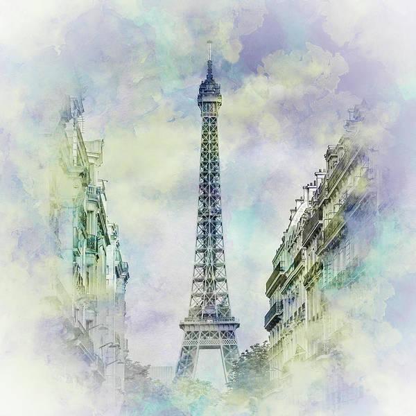 La Tour Eiffel Photograph - Parisian Flair - Jazzy Watercolor  by Melanie Viola