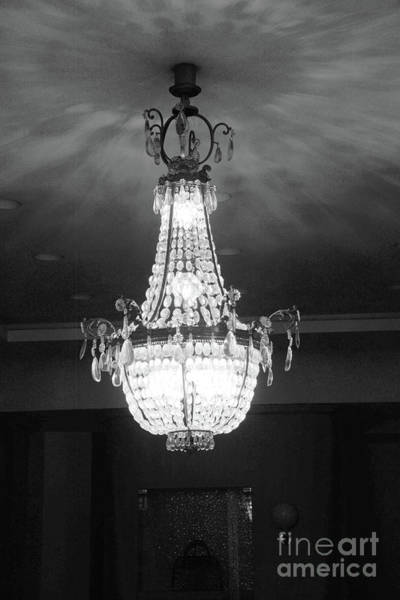 Wall Art - Photograph - Parisian French Chandelier - Opulent Black And White French Chandelier  by Kathy Fornal
