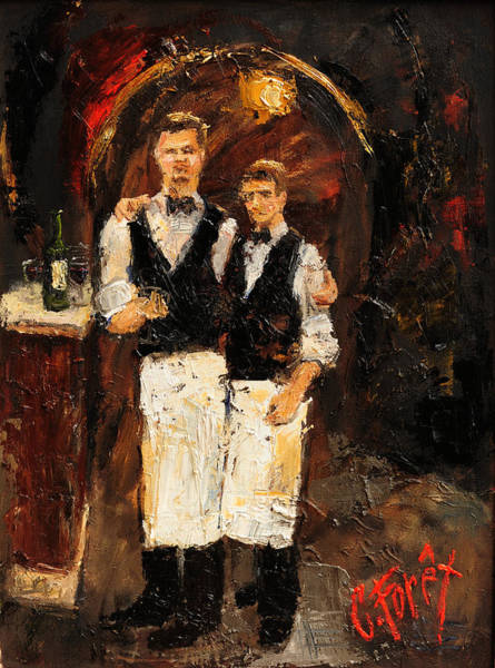 Wall Art - Painting - Parisienne Servers by Carole Foret
