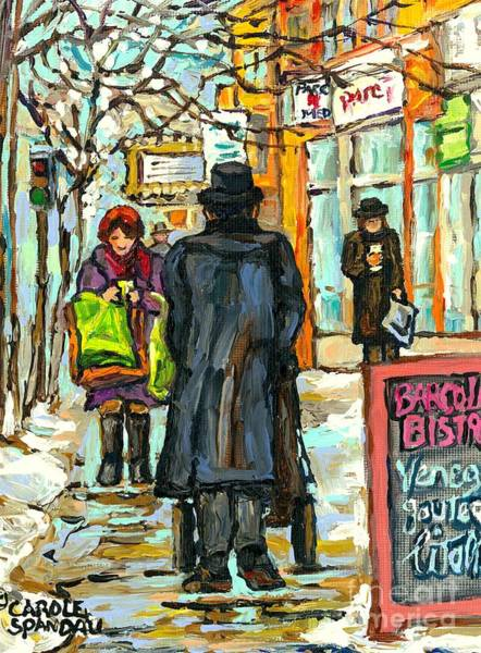 Klezmer Band Wall Art - Painting - Park Ave Barcolo Bistro Hasidic Man Baby Carriage Rialto Winter Scene Art Montreal Carole Spandau    by Carole Spandau