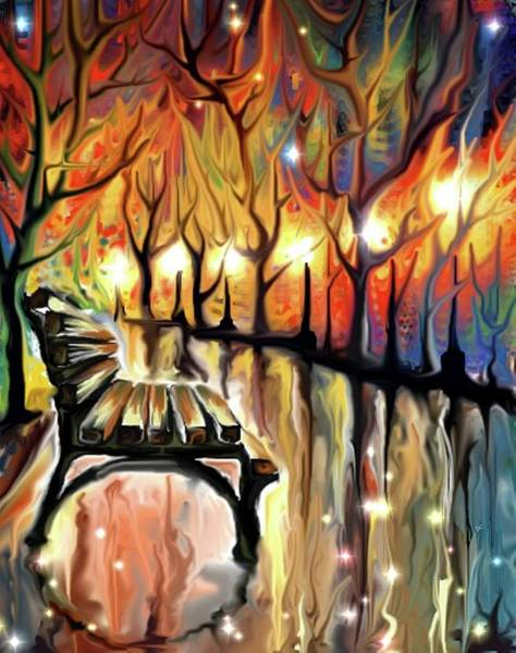 Digital Art - Park Bench by Darren Cannell
