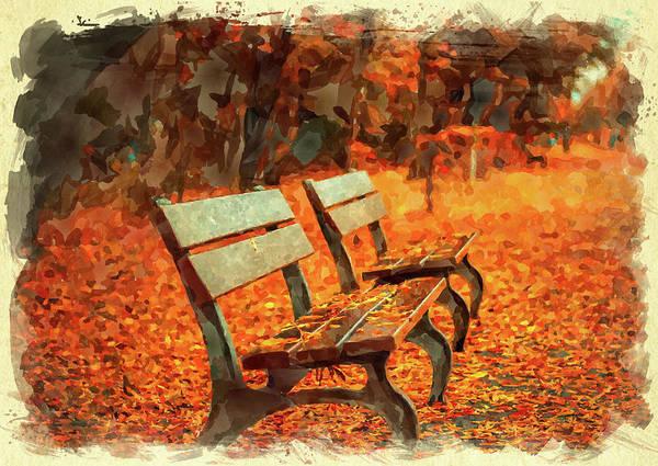 Wall Art - Digital Art - Park Bench In Fall by Ricky Barnard