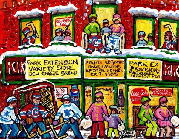 Painting - Park Extension Corner Store Montreal Memories Street Hockey Art Canadian Winter Scene Carole Spandau by Carole Spandau