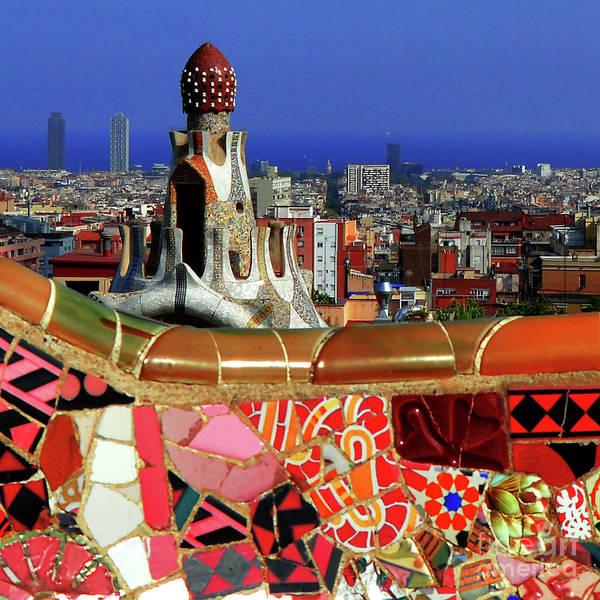 Tile Photograph - Park Guell Barcelona Tile Mosaic by Mona Edulesco