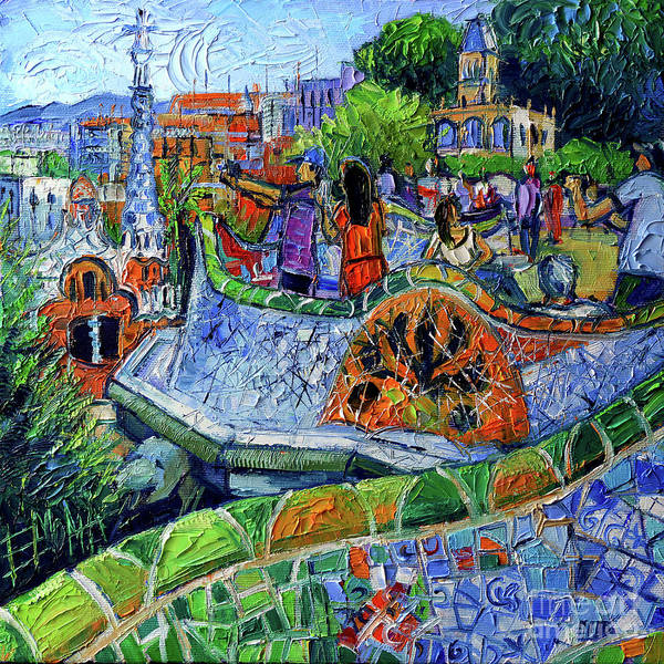 Modernism Painting - Park Guell Memories - Barcelona Impression Palette Knife Oil Painting by Mona Edulesco