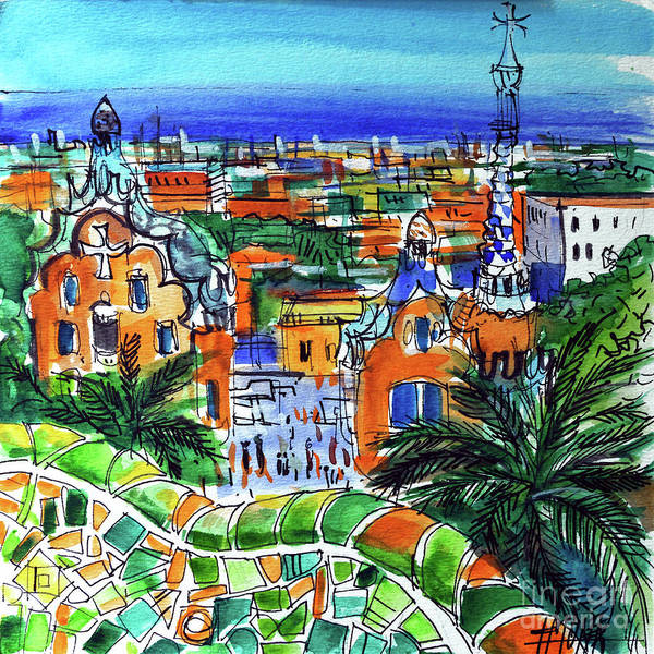 Wall Art - Painting - Park Guell Overlooking Barcelona by Mona Edulesco